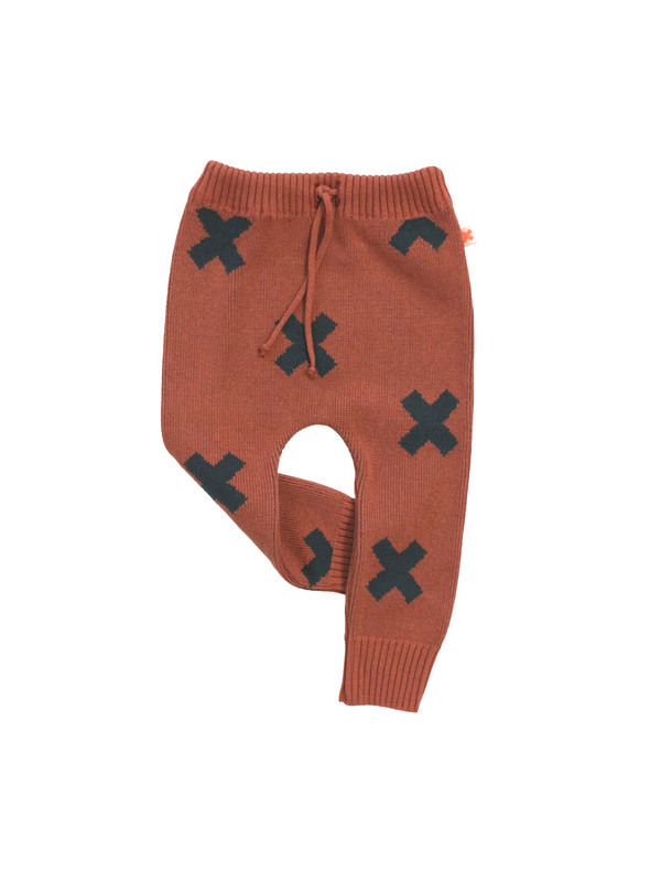 Kid's Tiny Cottons KNIT LOGO PANT - TERRACOTTA