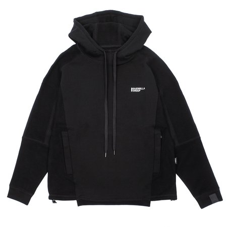 Guerrilla Group ES-TH01 ND CONTRAST PANEL HOODIE - BLACK