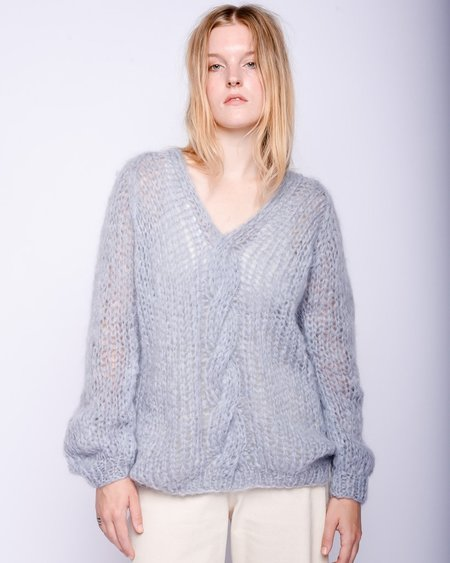 Maiami Oversized Vneck cable mohair sweater - sky