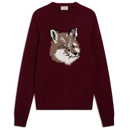 Maison Kitsuné Fox Head Jacquard Pullover - Burgundy