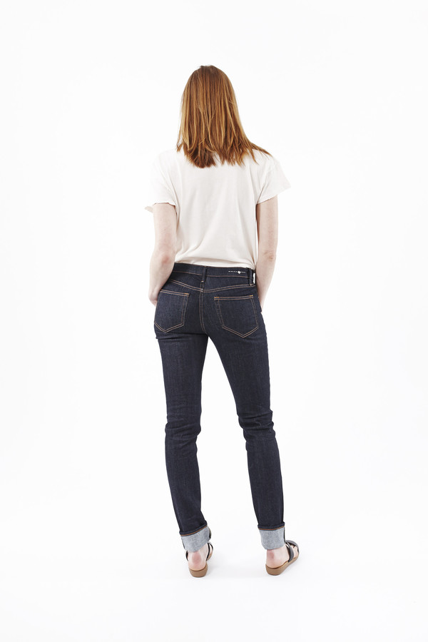 EARNEST SEWN Natasha Midrise Skinny Jeans in Dark Blue