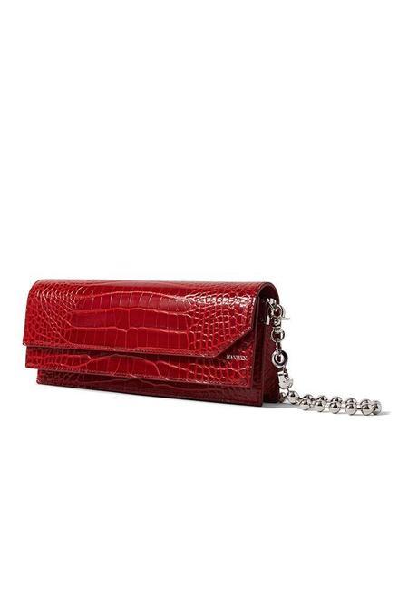 Hanwen Naomi Croc Slim Shoulder Bag - Red