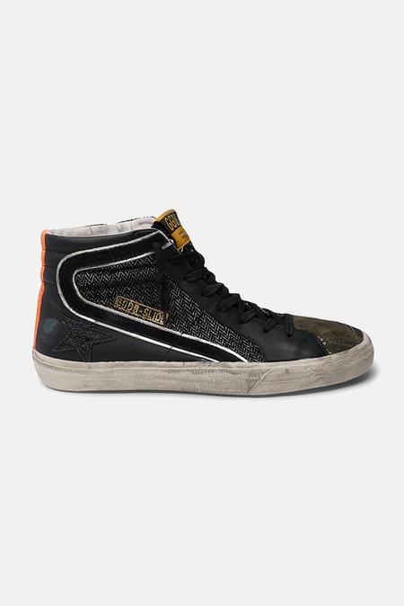 Golden Goose Slide Sneaker Shoes - Canvas Black/Drill Green/Orange