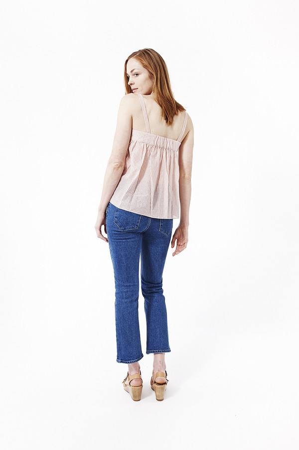 Jenni Kayne Striped Cotton Gathered Band Cami in Terracotta