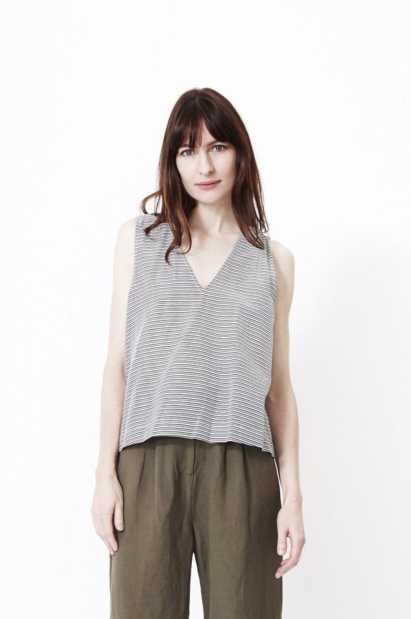 JENNI KAYNE Striped Cotton V Neck Shell