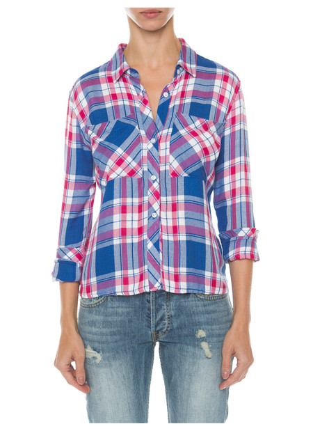 RAILS DYLAN CROPPED BUTTON DOWN IN MARINA FLAMINGO