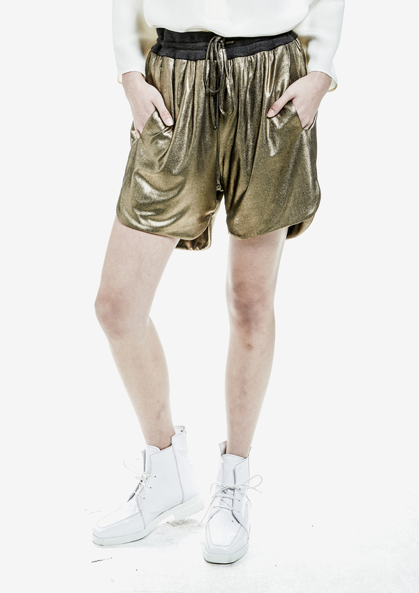 SHORTS METALLIC COTTON JERSEY – GOLD