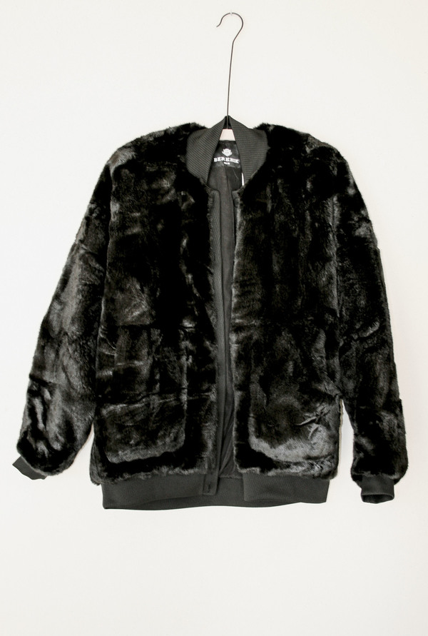 Berenik Pilot Jacket Buttonfront Faux Fur - Black