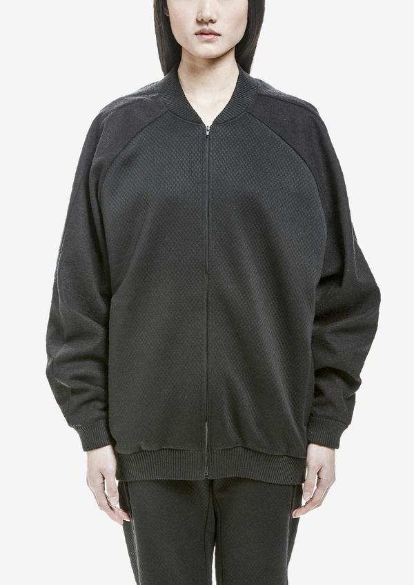 Berenik Pilot Jacket Zip Rhomb Tricetate Jersey - Black Rhomb