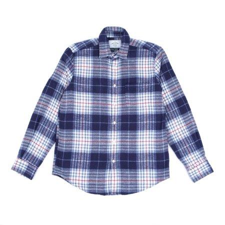 Portuguese Flannel BLEECKERS CHECK SHIRT - BLUE