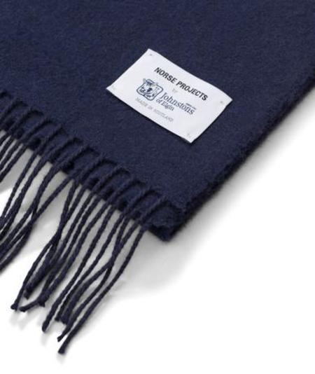 Norse Projects X Johnstons Solid Scarf - Navy