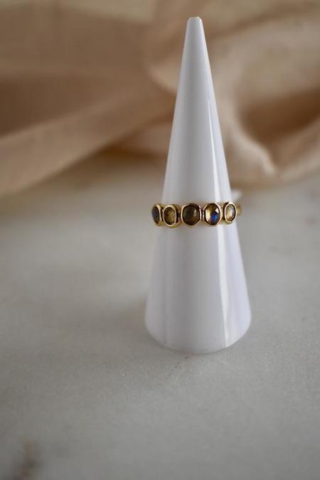 Elizabeth Stone Sculpted Gemstone Ring - Labradorite/14k gold plated brass