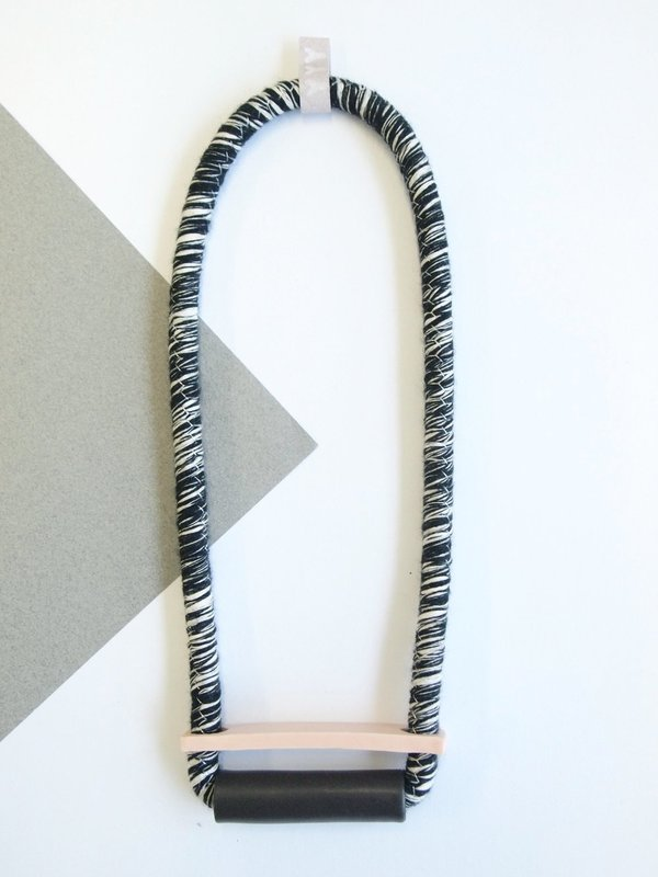 YYY tube + bar necklace on variegated cord