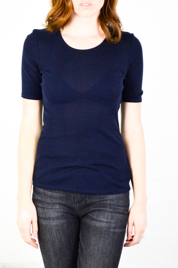 FRAME Denim FRAME 'Le Fitted' Crew Neck Tee in Navy