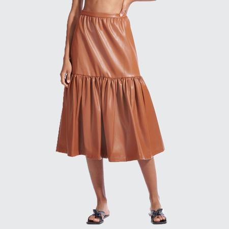 Staud Orchid Vegan Leather Skirt - whiskey