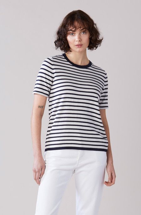 Laing Home Jacques Cotton/Cashmere T-shirt - Navy/White Stripe