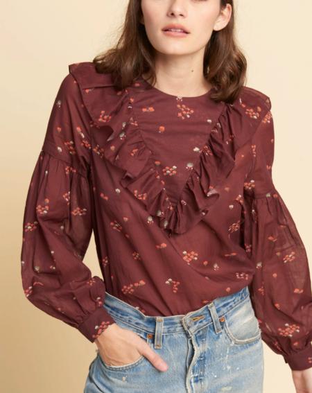 warm penelope blouse - burgundy floral