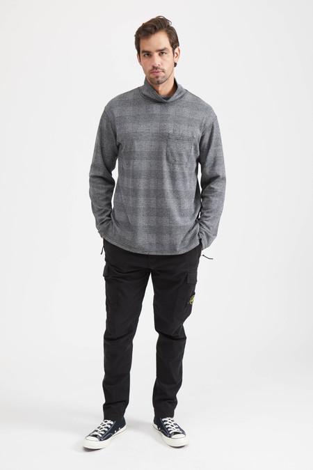 Engineered Garments MOCK TURTLE PC GLEN PLAID TOP - GREY