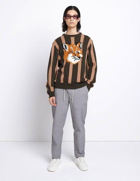 Unisex Kitsune Stripes Fox Head Pullover - Khaki