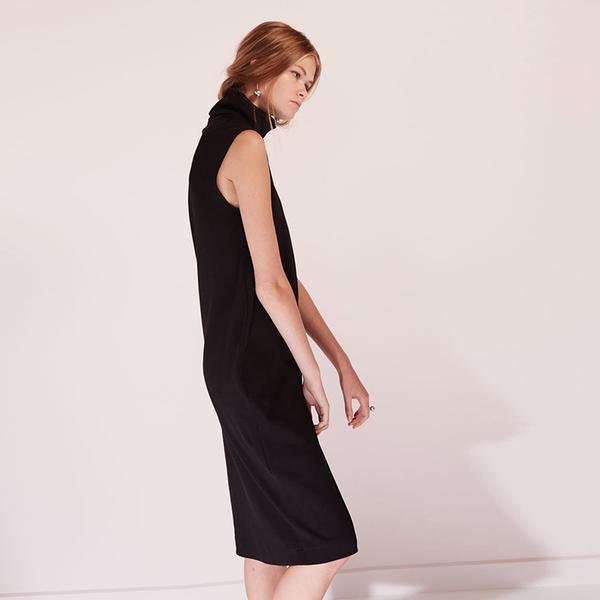 Kowtow Building Block rib roll neck dress - black
