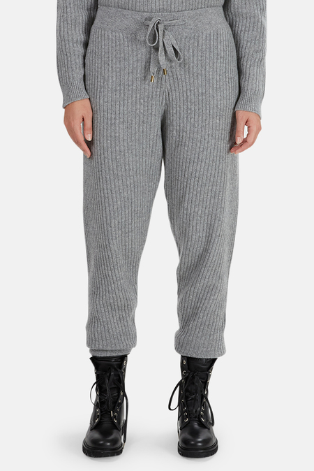 The Tile Club Florence Ribbed Cashmere Pants - Grey