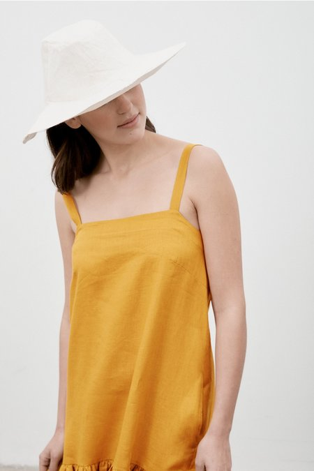 Milk & Thistle Ritual Linen Dress - Saffron