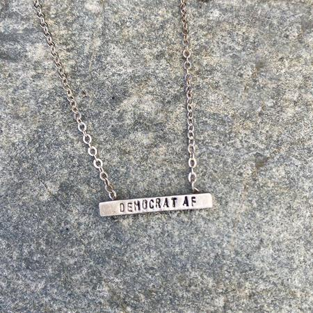 Chocolate and Steel Democrat Af Tiny Mantra Neck - SILVER