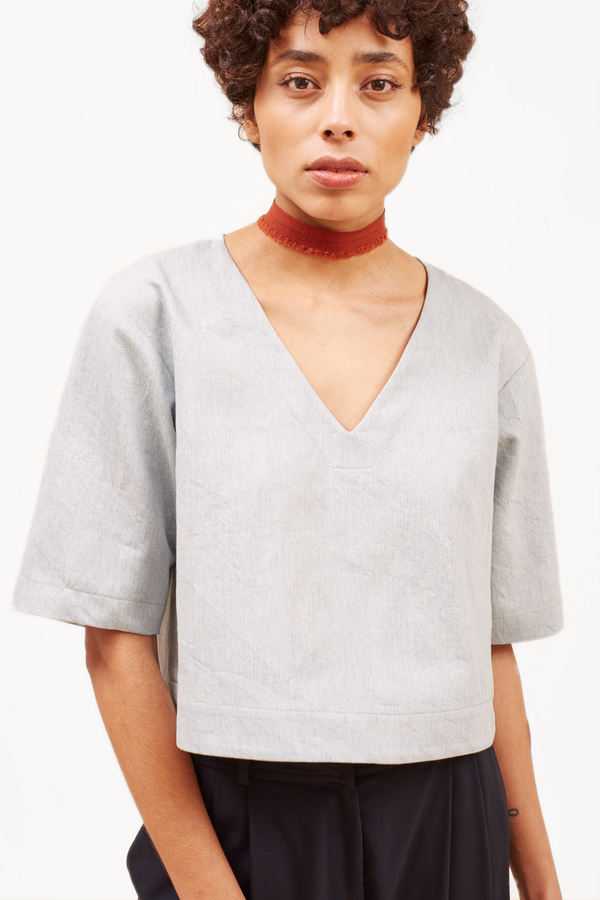 Waltz Drop Shoulder V-neck Top in Cotton/Linen Canvas