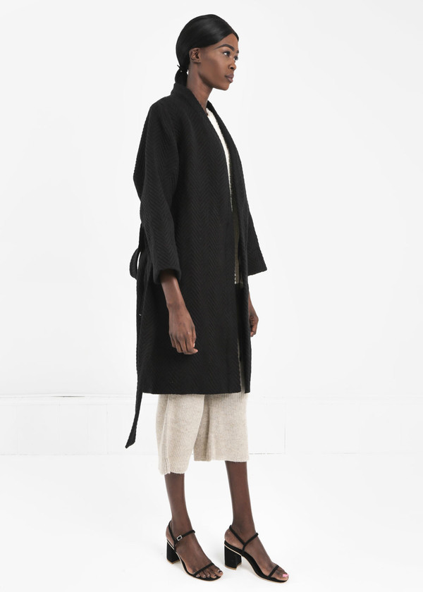 Wray Black Mantle Robe Coat