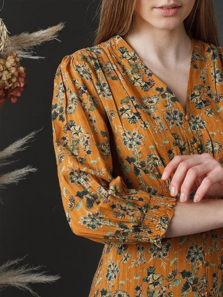 Indi & Cold Passionflower Dress - Ochre