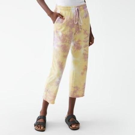 Michael Stars Kat Crop Tie Dye Sweatpant - Lilac/Violet