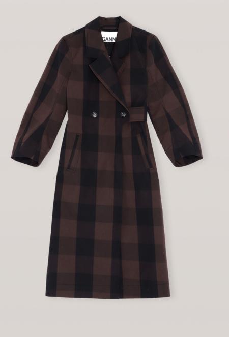 GANNI Double Cotton Coat - Mole