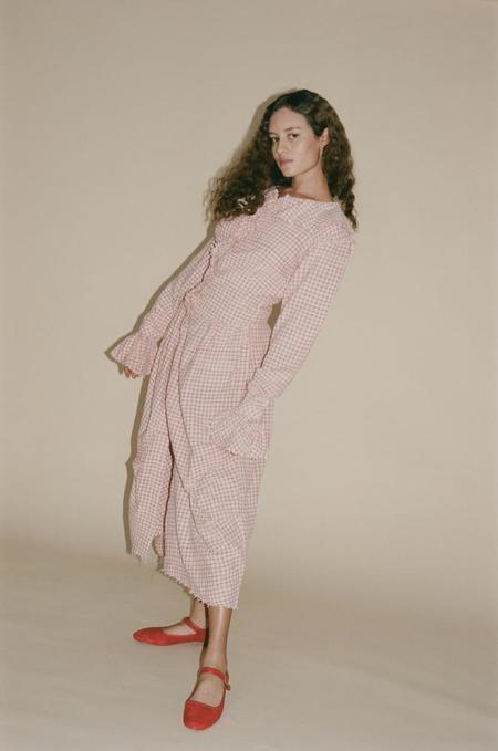 Tigra Tigra Zuzu Khadi Tea Towel Drape Dress - Red/White