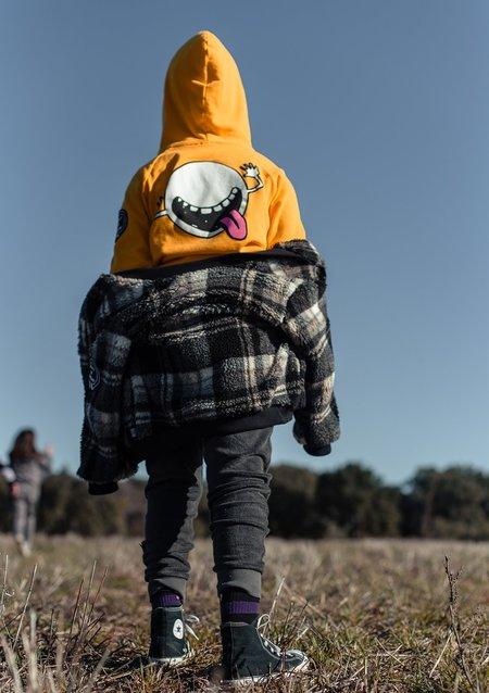 kids LITTLE MAN HAPPY Checked Teddy Bomber Jacket - Black