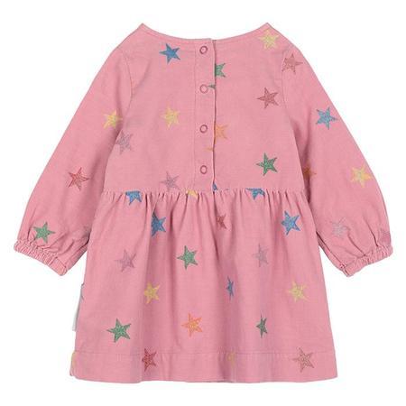 Kids Stella McCartney Baby Corduroy Dress With Glitter Stars - Pink