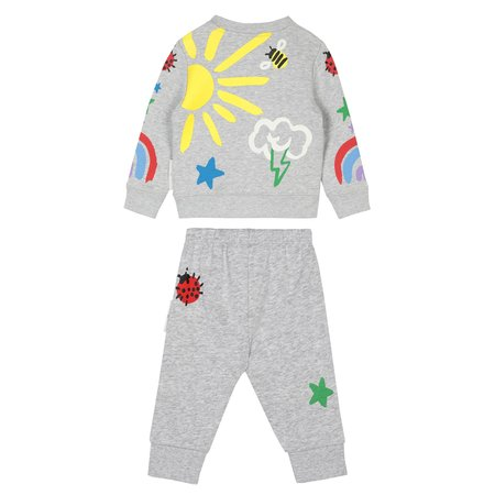 Kids Stella McCartney Baby Sweatsuit Set With All Over Crayon Weather Print - Grey
