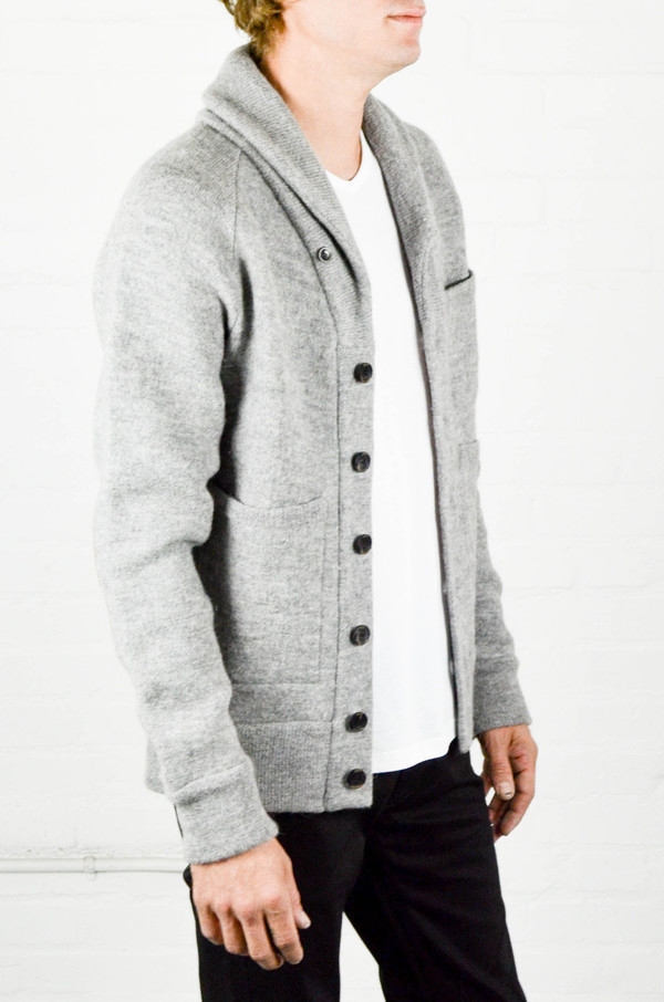 Men's Apolis Boiled Wool Shawl Collar Cardigan