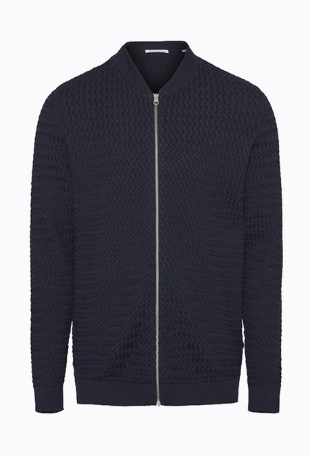 Knowledge Cotton FIELD Cardigan Knit - Total Eclipse