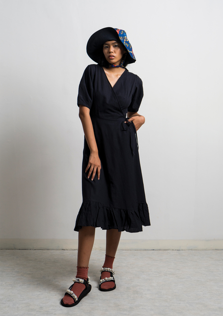 ENSEMBLE THE LABEL AMANITA WRAP DRESS - BLACK