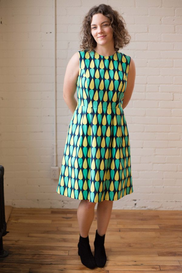 Birds of North America Gravateiro Dress - Navy and Green