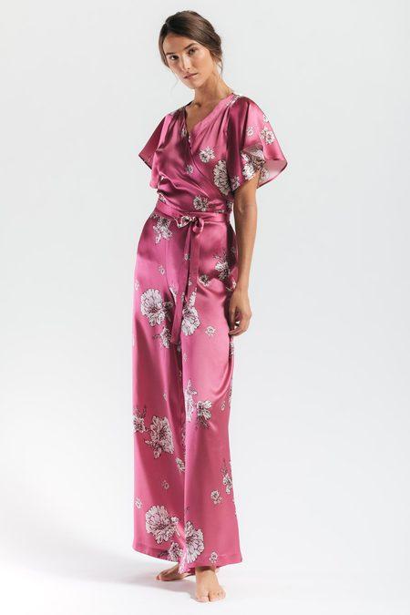 NK IMODE Peony Blooms Leisure PJ Silk Wrap Set - FLORAL-PINK