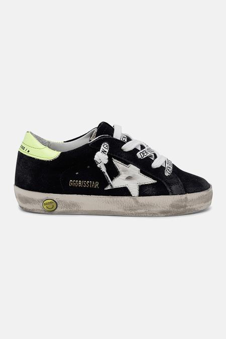 kids Golden Goose Toddler Superstar Sneaker Shoes - Night Blue/White Star/Yellow Flourecent