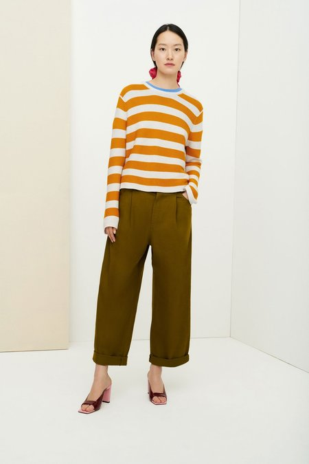 Kowtow Stripe Crew Sweater - Marigold Stripe