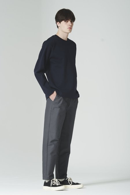 Still By Hand W Cloth Tapered Pants - Slate Grey