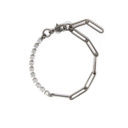 Joomi Lim Asymmetrical Chain Crystal Anklet - brass