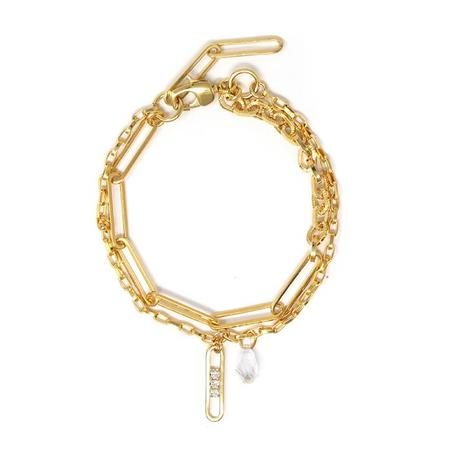 Joomi Lim Asymmetrical Double Chain Anklet w/ Crystal Link & Charm -18k Gold