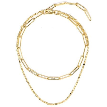 Joomi Lim Double Chain Necklace w/ Crystal Links - 18k Gold