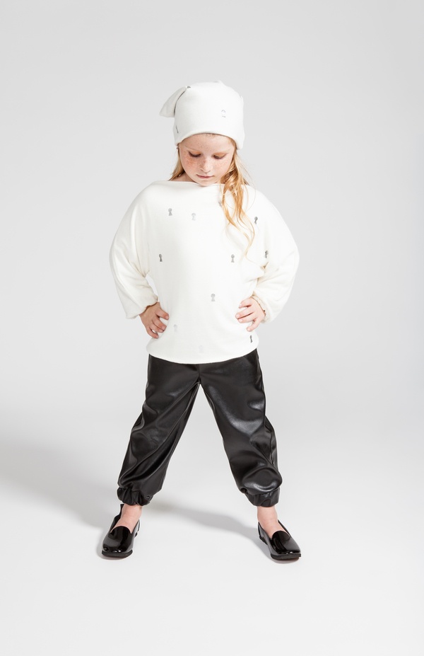 OMAMImini White Dolman Sleeve Sweater with Keyhole Print