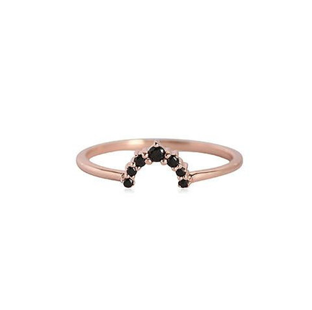Leah Alexandra Rainbow Ring with Black Garnet