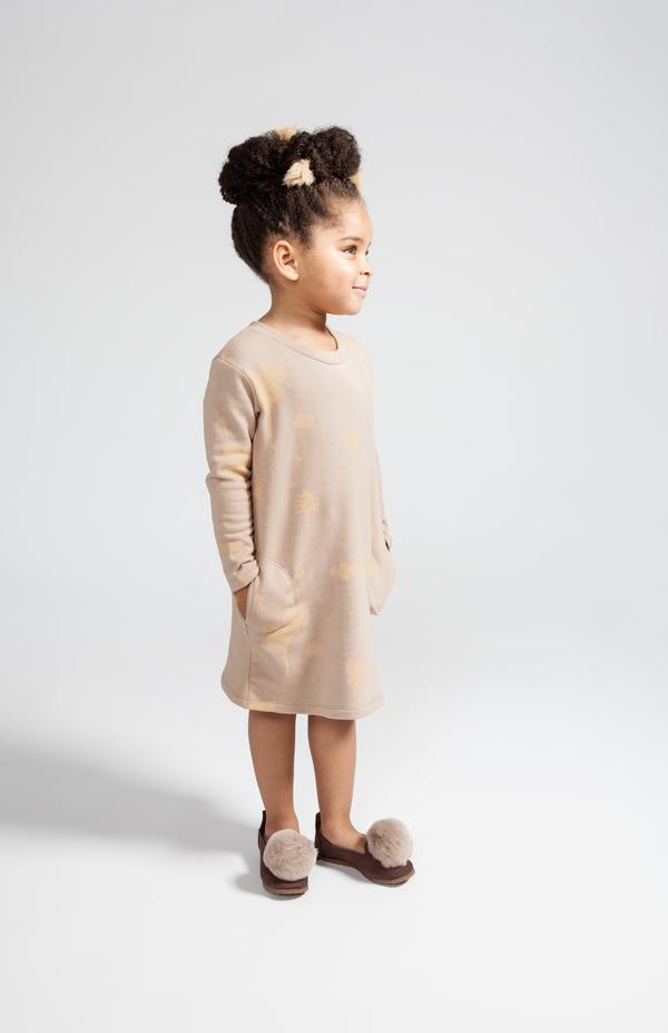 OMAMImini Camel Sweatshirt Dress with Secret Forest Print
